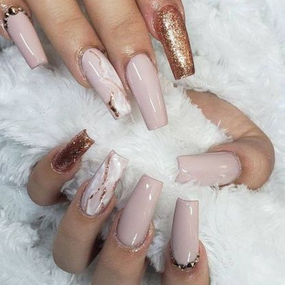 Baby pink nail extensions