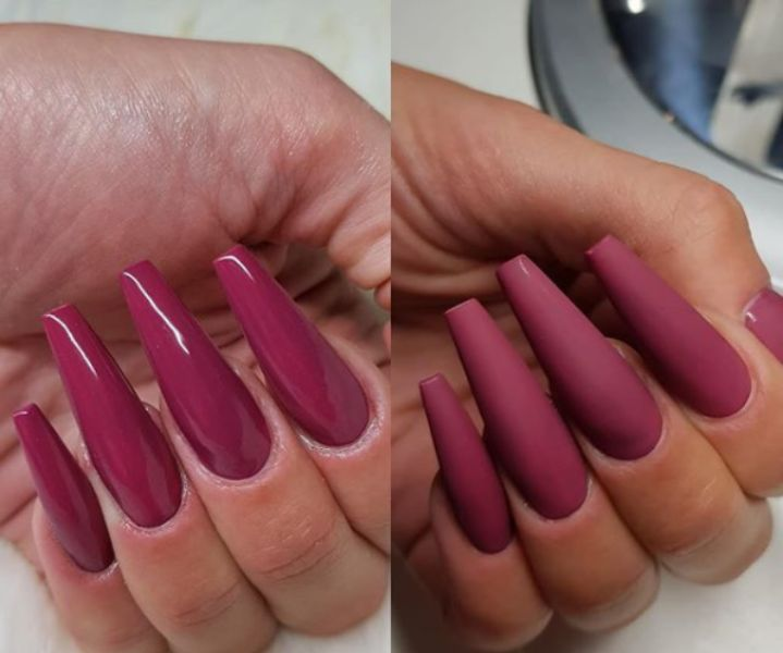 Long nail extension with matte and glossy finish