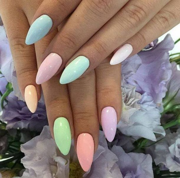 Manicure with pastel nail polish