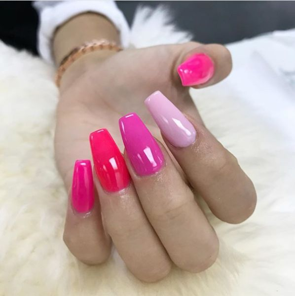 Shade of pink nail extensions