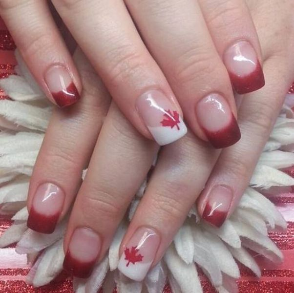 Nail art with dark red nail polish